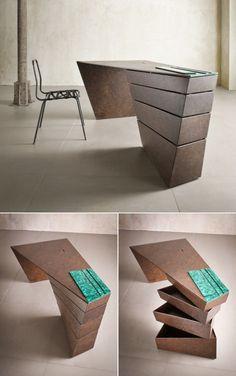 Bureau design avec des rangements cachés