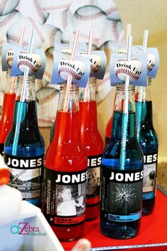Take off the baseball things on the straws but Jones sodas are a cute idea!