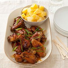 Pineapple-Soy Chicken Wings | MyRecipes.com- very good, but subbed orange juice for the pineapple juice and chicken thighs for the wings. Hubby ate all of it!