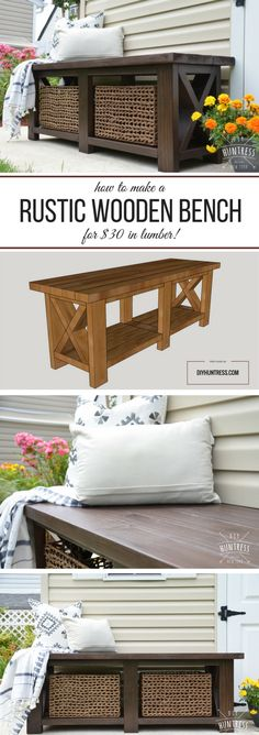 Check out the tutorial on how to make a DIY rustic bench @istandarddesign