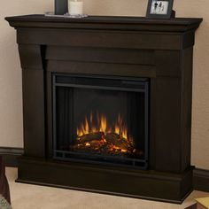 Real Flame Chateau Electric Fireplace Finish: Dark Walnut