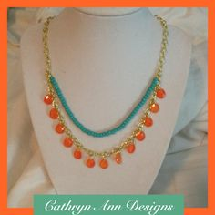 Two Tone Beaded Teardrop Necklace by CathrynAnnDesigns on Etsy, $25.00