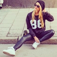 casual street style athleisure in leather leggings