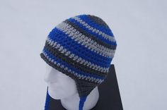 Awesome Snowboarding Hat! Adult Crocheted Hat with Ear Flaps in Royal Blue by TheTipsyTurtle, $25.00
