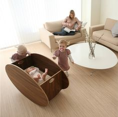 Rocking cradle: Soothing for baby, and looks great in any room.