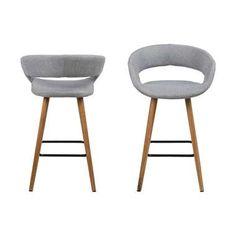 Hoge kruk voor verhoogde tafels in stilteruimte Barkruk Tarup - lichtgrijs - 65,5 cm hoog (2 stuks)