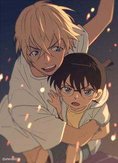 Bourbon and Conan Manga Anime, Anime Guys, Magic Kaito, Detective, Super Manga, Kaito Kid, Amuro Tooru, Detektif Conan, Kudo Shinichi