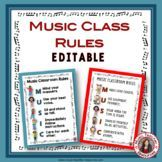 Music Classroom Rules Posters - editable!