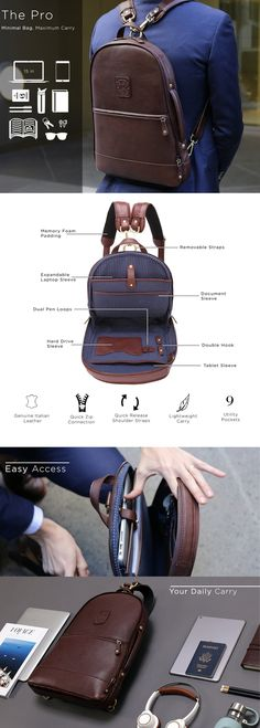 backpacks The worlds most functional leather backpack! Messenger, backpack, and duffle configurations the perfect bag for every lifestyle. Accessoires Ipad, Do It Yourself Fashion, Designer Backpacks, Leather Accessories, Leather Working, Backpack Bags, Duffle Bags, Leather Men, Man Stuff