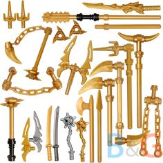 LEGO Ninjago Set/19 Golden Weapons Set - Spinjitzu weapons Shuriken Dragon Sword #LEGO