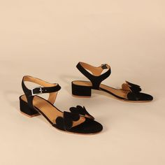 POPPY Suede Black | Emma Go My Emma, Long Toes, Your Shoes, Low Heels, Poppy, Open Toe, Spring Summer, Sandals, Leather