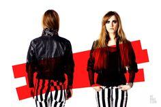SWEET GRUNGE // PHOTOSHOOT // WEMAKEU.COM // http://wemakeu.com/2013/04/01/sweet-grunge-photoshoot/  | #sweet #grunge #black #white #red #stripes #pants #trousers #leather #jacket #wedges #diamond