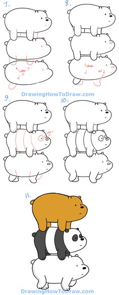 How to Draw Grizzly, Panda and Ice Bear from We Bare Bears Bearstack - How to Draw Step by Step Drawing Tutorials Easy Doodles Drawings, Easy Cartoon Drawings, Easy Doodle Art, Cute Easy Drawings, Art Drawings For Kids, Cute Doodles, Kawaii Drawings, Art Drawings Sketches, Disney Drawings