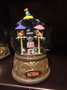 "Disney Parks Enchanted Tiki Room Resin Musical Snow Globe Appr. 3.55"" x 3.6"" x 5.8"" New With Tags"