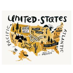 Hand Drawn Us Map.50 Best Maps Images Illustrated Maps Viajes Illustrations
