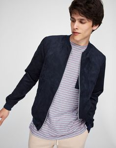 :Faux suede bomber jacket with zip