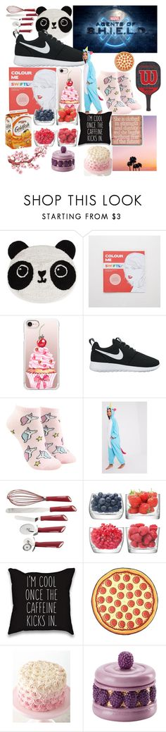 """""""This is Me 2.0"""" by randomgirl03 ❤ liked on Polyvore featuring Sass & Belle, Episode, Aerie, Casetify, NIKE, Forever 21, Cake Boss, LSA International and Villari"""