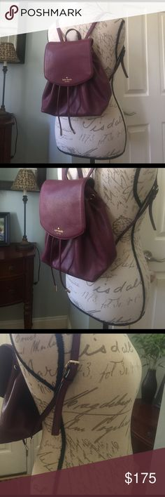 🚪CLEAR OUT🚪Kate Spade Small Breezy EUC Kate Spade EUC Mulberry Street small Breezy backpack style, gorgeous Mulled-Wine color, there r a couple spots on the bottom and one on the flap. These r so minor. This bag is in awesome condition!!  🍀Please see matching large Stacy in another listing in my closet. Bundle together for $3 off shipping, 10% discount and a free 🎁gift 🎁with purchase!🍀 kate spade Bags