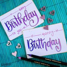 Lettering for a birthday! You can always use birthday cards – and with blending, a gold border and gold accents, the card looks really classy. That& the beauty of lettering – you never have to buy a ticket 😉 Source by herzkiste - Funny Birthday Gifts, Handmade Birthday Cards, Diy Birthday, Diy Instagram, Cards For Men, Birthday Card Drawing, Birthday Letters, Dollar Store Christmas, Diy Letters