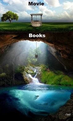 """I would say this is accurate. Movies like """"the Hobbit"""", """"Narnia"""", and the first hunger games movie are rare exceptions to the stigma that movie adaptations of books are bad. The worst film adaptation of a book in my opinion is the """" Percy Jackson"""" movie. I Love Books, Good Books, Books To Read, Book Memes, Book Quotes, Book Fandoms, Book Of Life, Film, Book Worms"""