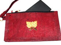 Hand Tasche rotes Kork, clutch vegan 3 in 1
