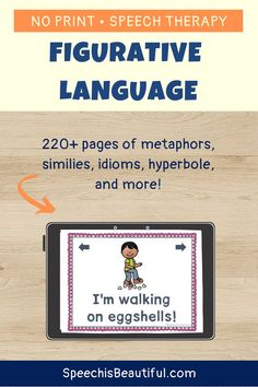 pages of No Print, interactive Figurative Language speech therapy materials. Includes Metaphors, SimilesIdioms, Hyperbole, and Personification. - Speech is Beautiful Speech Pathology Activities, Speech Therapy Activities, Language Activities, English Words, English Language, Language Arts, Mentor Texts, Figurative Language, Word Families