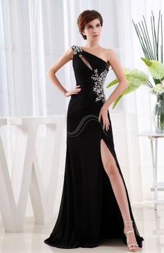 834f4c2d96e Black Elegant Sheath Asymmetric Neckline Sleeveless Chiffon Sweep Train Evening  Dress Cut Out Prom Dresses
