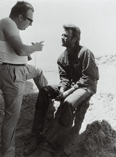 Sergio Leone and Clint Eastwood on the set of The Good, The Bad, and the Ugly