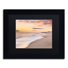 "Trademark Art 'Tide Line' by Michael Blanchette Framed Photographic Print Size: 11"" H x 14"" W x 0.5"" D, Matte Color: Black"