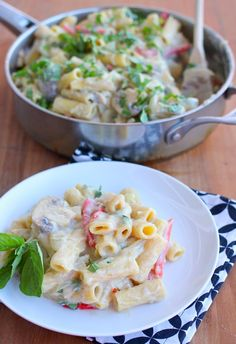 Healthy Vegan Alfredo Sauce  Tastes nothing like Alfredo sauce. But it definitely created a very creamy sauce for the pasta. I used unsweetened almond milk. Maybe there is a better alternative.