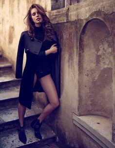 Giorgio #Armani satin and velvet coat, striped silk velvet turtleneck blouse and leather boots and Emporio Armani cotton lingerie.