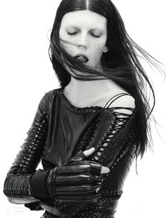 Balmain dress/ McQueen wrestling gloves