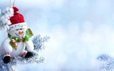 Download wallpapers snowman, winter, Santa Claus hat, Christmas, snow