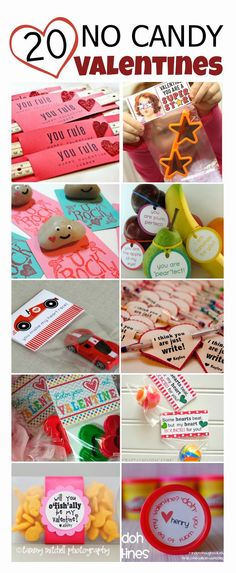 20 adorably cute and super fun NO CANDY Valentines... Here are 20 adorably cute and super fun NO CANDY Valentines.  All of these are easy to put together and sure to be kid pleasers.  For free printables and full instructions on making each valentine click the photo or link.
