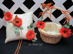 Orange Butterfly Basket and Ring Pillow for a Woodland Wedding by BridalLoft, $35.00