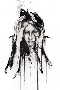 Insomnia - Ink drawing by Italian artist Silvia Pelissero also known as Agnes Cecile. Watercolor Portrait Painting, Painting & Drawing, Portrait Paintings, Watercolour Hair, Watercolor Ideas, Abstract Paintings, Abstract Art, Silvia Pelissero, Agnes Cecile