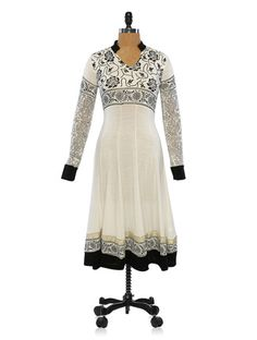 Buy Ira Soleil White and Black Long Sleeves Floral Printed Anarkali Online, , LimeRoad