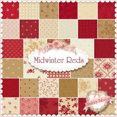 "Midwinter Reds  Charm Pack By Minick & Simpson For Moda Fabrics: Midwinter Reds is a collection by Minick & Simpson for Moda Fabrics.  100% cotton.  This charm pack contains 42 squares, each measuring 5"" x 5""."