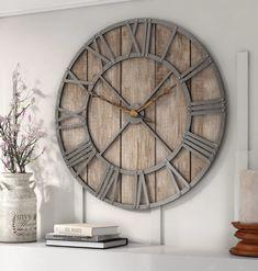 Large Rustic Wall Clock, Grey Wall Clocks, Wall Clock Wooden, Farmhouse Wall Clocks, Large Clock, Large Wall Clocks, Big Clocks, Metal Clock, Wood Wall