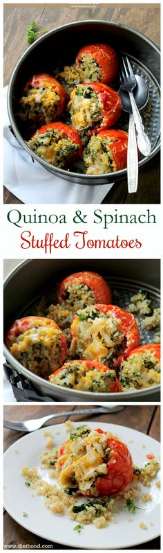 Delicious baked tomatoes stuffed with a cheesy Quinoa and Spinach mixture. I'd make it with a vegan substitute!