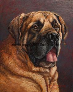 Bull Mastiff dog 8x10 signed and matted print by Sue Deutscher, $9.99 - an 11x14 print is also available at http://suedeutscher.com