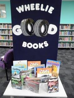 The Wheelie big books display has been a real hit- the kids love a pun & the simplicity of the display means its easy to make - the wheel picture is from clip art. - Bree at Fremantle City Library (Western Australia) School Library Displays, Library Themes, Library Ideas, Library Decorations, Children's Library, Library Events, Library Table, Library Design, Classroom Displays