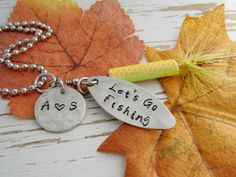 Let's Go Fishing - fishing lure - car mirror adornment - personalized - initials - anniversary gift - outdoors wedding - fish hand stamped