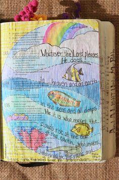 Psalm 135:6-7, July 14, 2016, carol@belleauway.com, Neocolor II, Wink of Stella glitter pen, Illustrated Faith pen, bible art journaling, bible journaling, illustrated faith