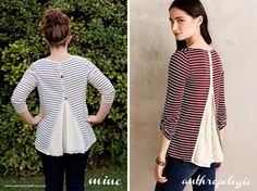 Anthropologie Style Refashion: The Cassia Scoopneck DIY (Diy Ropa Sweaters) Sewing Tutorials, Sewing Projects, Sewing Patterns, Sewing Crafts, Shirt Refashion, Diy Shirt, Clothes Refashion, Diy Clothing, Sewing Clothes
