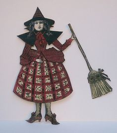 Witch Paper Doll  Vintage Style  Decoration  by mizzfitzdolls, $7.50
