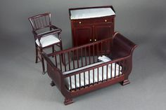 """This 3-piece Bespaq nursery includes a crib, changing table dresser, and high chair with blue bedding. Please email for info on measurements. 1/12"""" scale"""