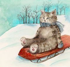 Sledding Cat art holiday children decor por amberalexander en Etsy