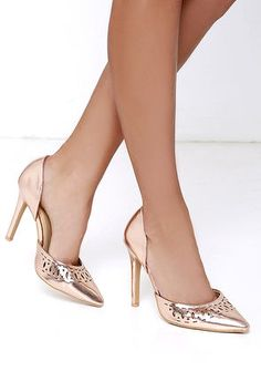 aef32515799 Party perfection is in your future with the Glam Gala Rose Gold Cutout  Pumps! Metallic