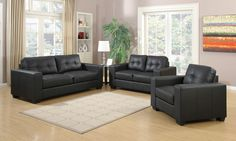 Ensemble fauteuil 3+2+1 moderne en air cuir coloris noir